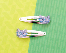 Nerdy Cat Hair Clips - Pair