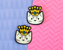Crown Cat Patch Hair Clips - Pair