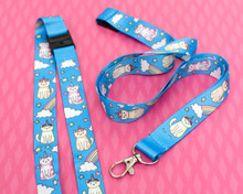Unicorn and Rainbow Cats - Lanyard  - with Safety Clip