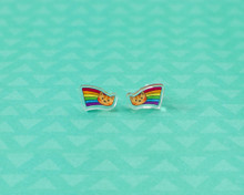 Rainbow Cat Stud Earrings