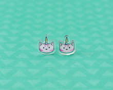Unicorn Cat Stud Earrings