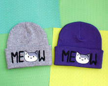MEOW Cat Beanie Hat