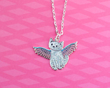 Angel Cat Enamel Necklace
