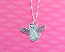 Angel Cat Enamel Necklace