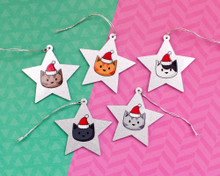 Glittery Star Christmas Cat Decorations