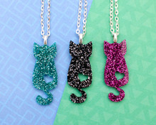 Glitter Cat Heart Necklace