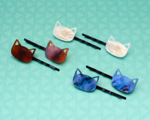 Cat Head Hair Slides (Pair)