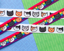 Cat Head Grosgrain Ribbon 16mm - per metre