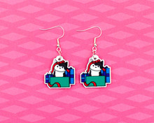 Cat and Gifts Christmas Earrings
