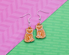 Gingerbread Cats Christmas Earrings