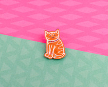 Gingerbread Cat Wooden Pin