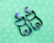 Cat Stud Earrings - Cat Outline - Galaxy Cats