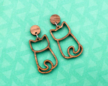 Cat Stud Earrings - Cat Outline - Walnut Cat