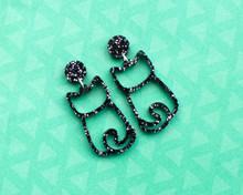 Cat Stud Earrings - Cat Outline - Black Glitter