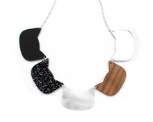 Large Cat Heads Necklace - Black and White