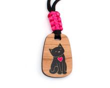 Black Cat Wooden Pendant - Satin Cord
