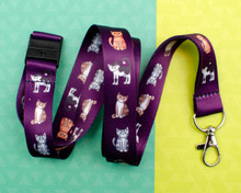 Purple Cats - Lanyard  - with Safety Clip