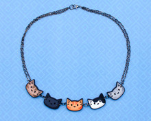Cat Heads Necklace - Printed Kitties