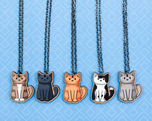 Wooden Cat on Long Necklace - Printed Kitties