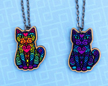 Super Doodley Wooden Cat on Long Necklace - Printed Kitties