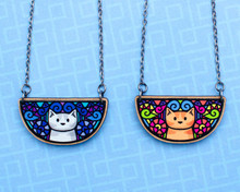 Doodley Cat Necklace - Printed Kitties