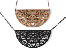 Spiral Cats - Statement Necklace - Semi Circle