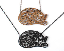 Spiral Cats - Statement Necklace - Lying Cat