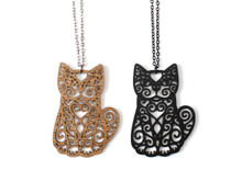 Spiral Cats - Statement Necklace - Sitting Front