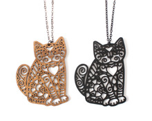 Spiral Cats - Statement Necklace - Sitting Side