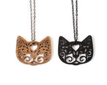 Spiral Cats - Statement Necklace - Face