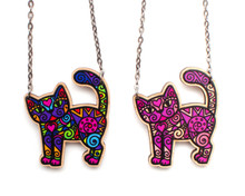 Super Doodley Wooden Standing Cat Necklace - Printed Kitties