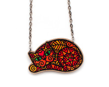 Super Doodley Wooden Curled Up Cat Necklace - Printed Kitties