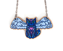 Super Doodley Wooden Angel Cat Necklace - Printed Kitties