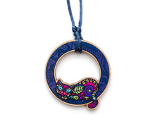 Super Doodley Wooden Cat in a Circle Cord Necklace - Printed Kitties