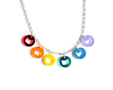 Circle Coin Cats Necklace - Rainbow