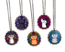 Cats on Doodley Patterns - Long Necklace - Printed Kitties