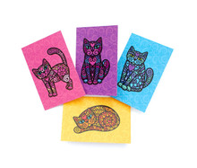 Super Doodley Cats - 4 Mini Cards (with Envelopes