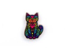 Rainbow Kitty - Super Doodley - Wooden Pin
