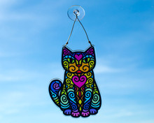 Rainbow Sitting Cat Colourful Hanging Window Decoration - Sun Catcher