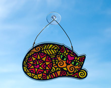 Autumn Cat Colourful Hanging Window Decoration - Sun Catcher