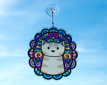 Brown Tabby Cat Colourful Hanging Window Decoration - Sun Catcher