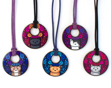 Big Circle Doodlecats - Long Necklace - Faux Suede Cord