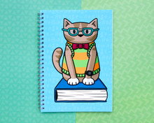 Nerd Cat - A5 Notebook - Lined Paper