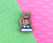 Nerd Cat - Wooden Pin