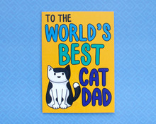 World's Best Cat Dad - Greetings Card