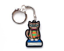Nerd Cat Key Ring