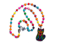 Super Doodley Wooden Cat on Rainbow Beaded Necklace - Printed Kitties