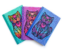 Set of Three Spiral Cats Notebooks - A6 Lined