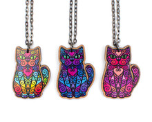 Spiral Cat on Long Necklace - Printed Kitties