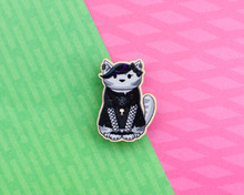 Goth Cat - Wooden Pin